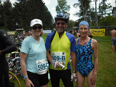 That's the Attache with her team.  She ran, George biked and Barbara swam.