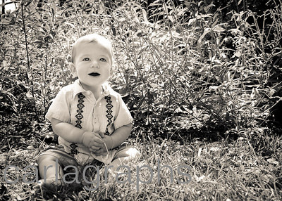 Alec Sitting in Grass and Flowers BW-0038