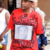 Don Knight/The Herald Bulletin<br /> Local airbrush artist Keice Swain wears a t-shirt asking about justice for Trayvon Martin.