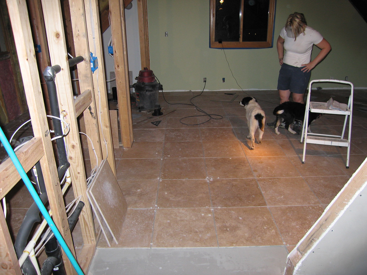 April 16 -17, 2005 - Kelly and I installed tile over the trouble area and into the bathroom