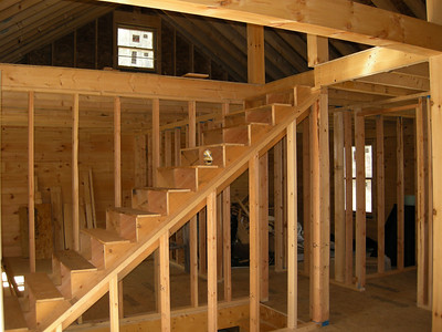 To the loft, over the bedrooms