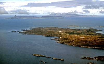 Rubh' Arisaig with Eigg and Rum, from above Loch nan Uamh.