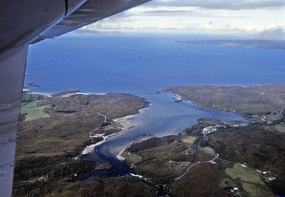 The mouth of the Morar river, with the old A830 (now brutally by-passed) snaking round it.