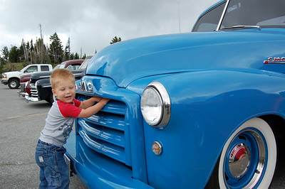 Loki with a Blue Truck