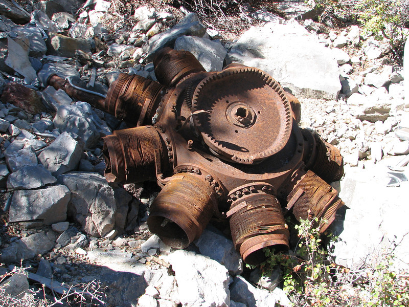 One of the engines.  The other is partially buried in sand and gravel.