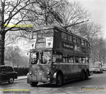 LT Trolleybus No. 1290, class K1, on route 657 at the Shepherds Bush terminus of the route, about to return to Hounslow, Saturday 28th April 1962. BWNeg49.