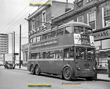 LT Trolleybus No. 1445, Hammersmith, 6th May 1962