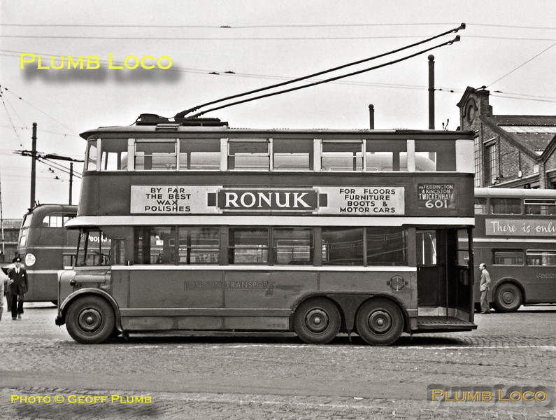 """London Transport trolleybus No.1, known as """"The Diddler"""", sits in the yard at Fulwell depot on Sunday 6th May 1962, just a couple of days before the end of trolleybus operation on Tuesday 8th May 1962, though the last working did not arrive back at the depot until the early hours of 9th May. Services started from Fulwell depot 31 years earlier and No.1 is now preserved. B&W Neg No. 35."""