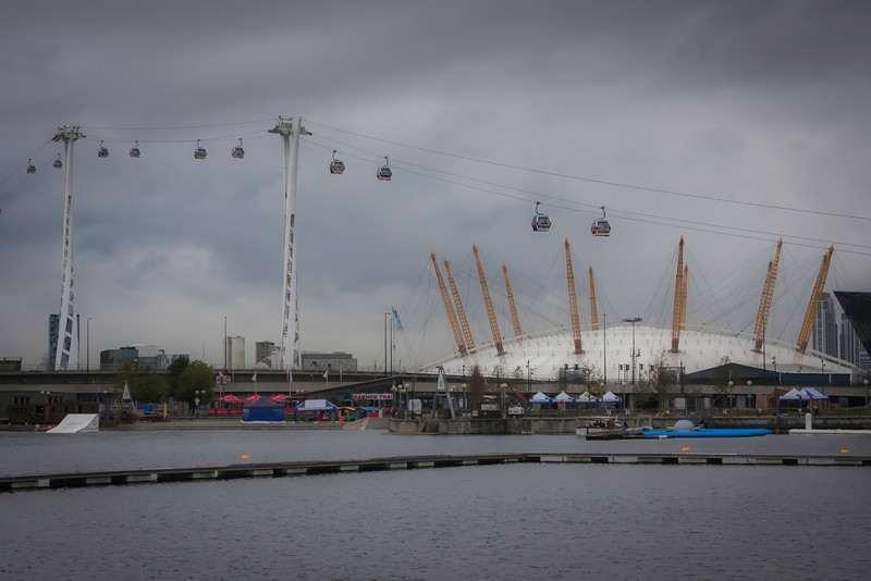 The O2 Arena, people are walking across the top of it.