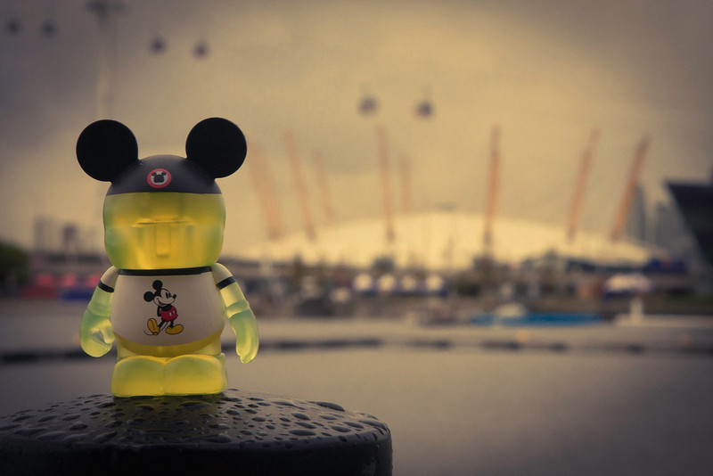 Focal point test shot with Traveler, across the harbor, the O2 Arena.