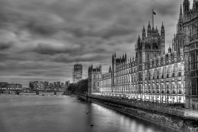 Black and White Houses of Parliament at dusk.