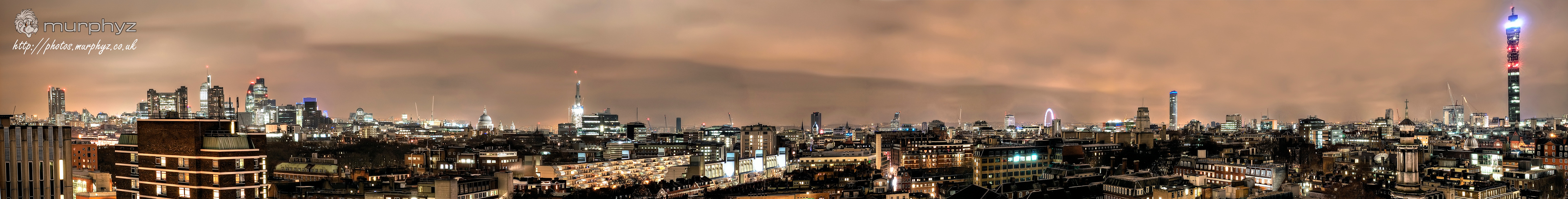 London Panoramic. 13 images stitched together.    From left to right the landscape includes iconic buildings such as the Barbican, Gherkin, St Paul's Cathedral, the Shard (mid construction), the Brunswick Centre, the OXO tower, Strata Tower, Senate House, Centrepoint and the BT Tower.