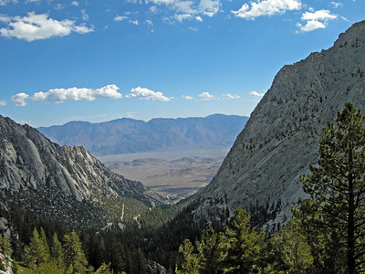 View eastward toward Alabama Hills and Lone Pine from Mt. Whitney trail.