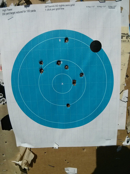 This is off of a Lead Sled at 100 yards.<br /> The other targets were WAY WORSE!<br /> I didn't think the CZ was capable of flyers, but there were a lot of them for about 20+ rounds.<br /> <br /> I was wondering whether the CZ had abandoned me?