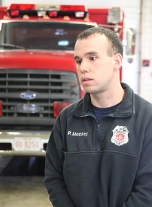 24FEB13__ Lorain Fireman Patrick Mackey discusses the coming layoff at the Central Fire Headquarters on Broadway in Lorain. photo by Ray Riedel