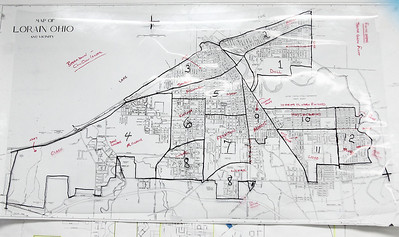 Lorain map broken into districts. Each district receives equal services. photo by Ray Riedel