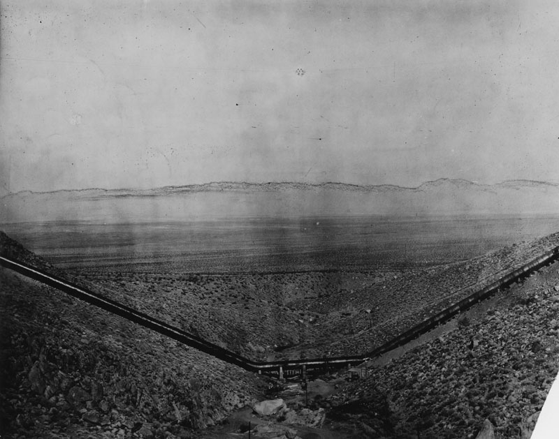. Panoramic view of the Los Angeles Aqueduct on July 22, 1926, as it crosses over hills enroute to the city.  (Los Angeles Public Library)
