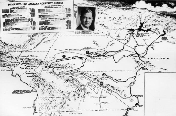 . Map of suggested aqueduct routes with a photograph of H.A. Van Norman, general manager for the Los Angeles Water Department.  (Los Angeles Public Library)