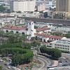 A telephoto of Union Station.  You can see the Amtrak tracks in the back.  That's also where I transfer from the Gold Line light rail to the subway in Union Station.  The light building with the slit windows in the upper left in LA's Men's Central Jail.  Mr. Simpson knows that place, too!