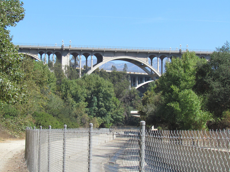 The Colorado Boulevard Bridge and the 134 Freeway bridges in the distance.