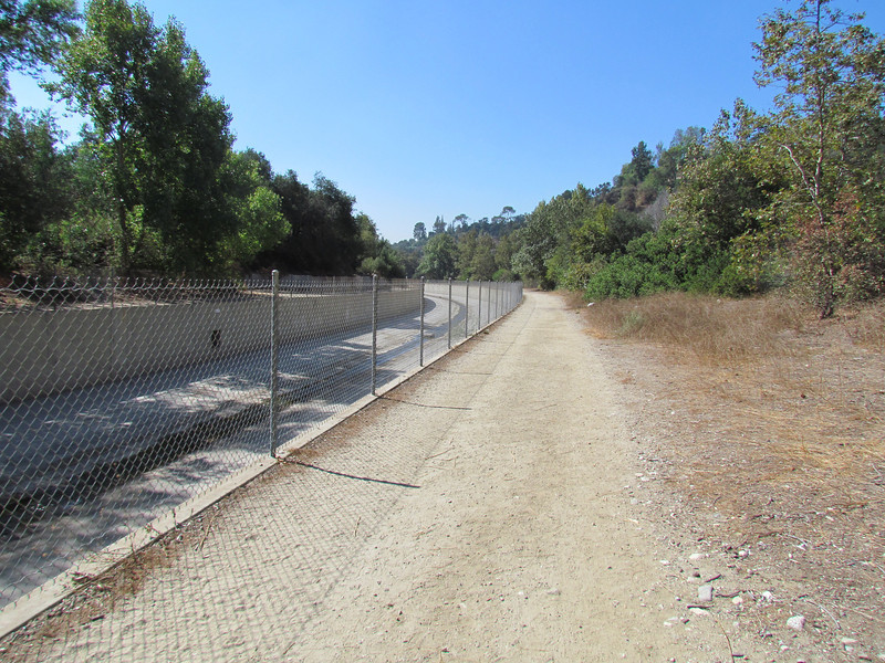 Much of the 22 mile long Arroyo Seco, which can be translated as dry gulch, looks like this.  A concrete channel that moves urban runoff—not sewage—and rain water from the San Gabriel Mountains to a junction with the Los Angeles River near Dodger Stadium.