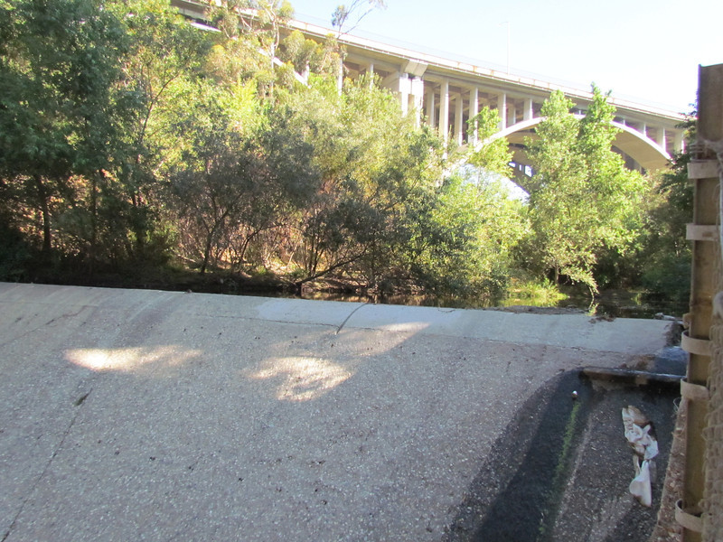 One section has been turned back to natural waterway.  As you go under the historic Colorado Boulevard Bridge, you see this small dam and behind it the concrete has been ripped out and the waterway is natural.  There were several ducks swimming and it's pretty in the middle of Pasadena.