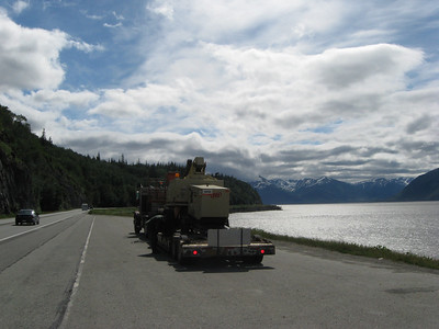 Stopping on Turnagain Arm to check Chains.