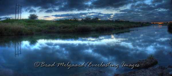 """Blue Twilight Panorama"" / Pecos River east of the Flume - Carlsbad, New Mexico"