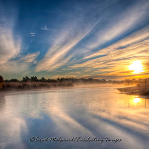 """River Mist Sunrise"" / Pecos River - Carlsbad, New Mexico (square format)"