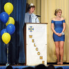Pat Christman <br /> 2012 king Evan Ellingworth and queen Erin Murray speak during Loyola's homecoming ceremony Wednesday.