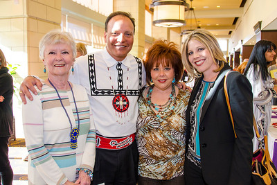Assistant Chief Gary Batton greets Billie James Miller of Brownfield, Texas, and mother and daughter, Brenda Baker of Lubbock and Laurie Key of Halfway, Texas.