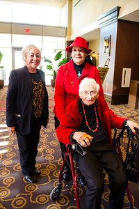 Annie Thomas Odell of Lubbock and Helen Thomas Liphan of Floydada, Texas, escort their mother, Willie Mae Thomas, to the Lubbock Cultural Gathering.