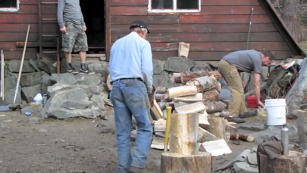 Dick Simpson chopping wood.  Zen in action.