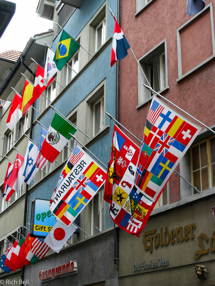 20040929Flags in Streets of Lucern Switzerland0533