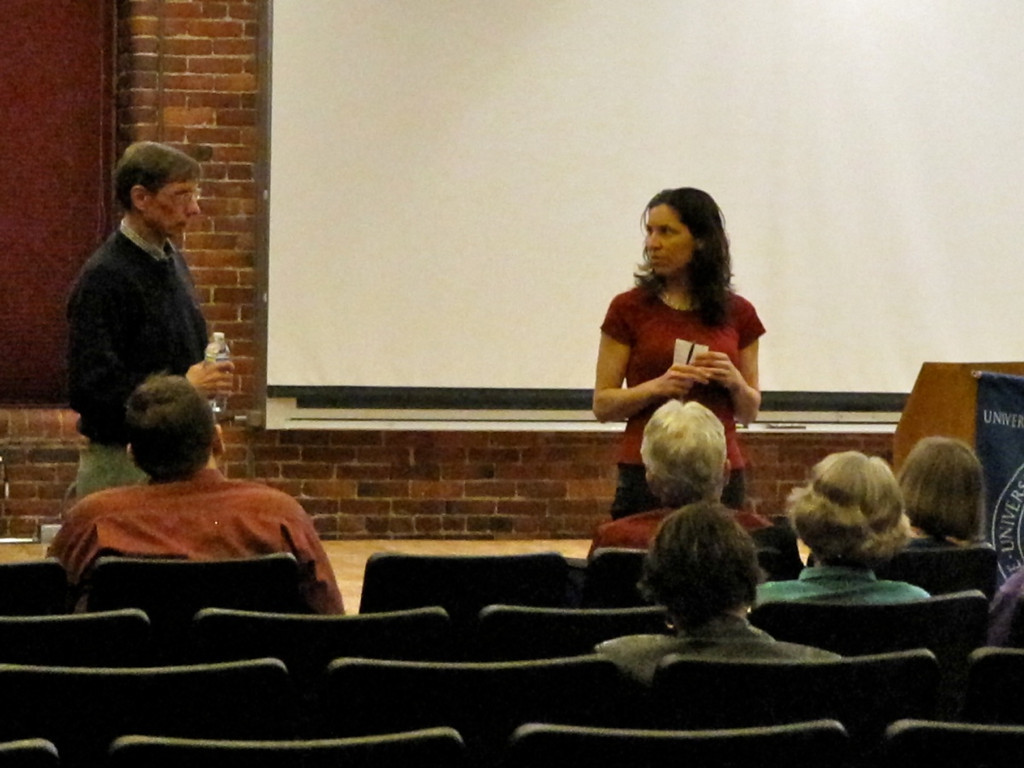 Lyme Film & Discussion at UNH Manchester, NH, 4/13/10<br /> David Hunter, Lyme advocate, and Laura Piazza, organizer.