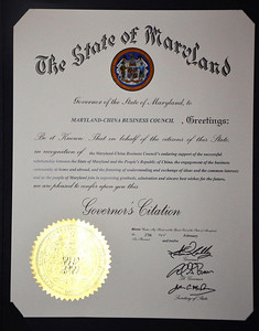 Citation from Governor Martin O'Malley for the Maryland China Business Council