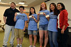 Members of the winning team stand for a photo following the spaghetti bridge building competition at Montgomery County Community College.  From second from left, Roger Yu, Haebin Rho, Cara Sweeney, and Juyoung  Oh.   At left is teaching fellow Frederick Schlick, and at right is instuctor Gwyathri Moorthy.   Thursday, July 24, 2014.   Photo by Geoff Patton