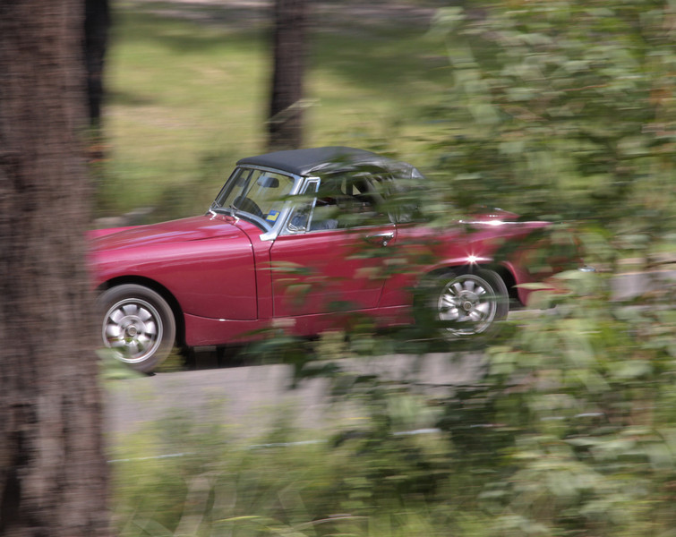A low camera shutter speed blurs the trees to give an impression of high car speed!