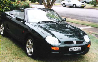 Lyall Clarke's 1997 MGF. Built 15/01/1997, 1997.BRG with black upholstery. 1st registered 25/03/1997. MGFs were released at the Sydney Motor Show October 1996 and sold from March 1997. This car was the third MGF registered in NSW. Purchased from a lady owner in Mosman November 2003. Has been placed in MG Natmeet concours 2006,7,9,11. 1st Outright MGCC(N) concours 2009 and MGCC (Hunter) 2010. Competes regularly in Hillclimbs, Motorkhanas and Touring assemblies. Lyall is a of MGCC (Newcastle) and he was the Chairman of the organising committee for the 2011 Natmeet.