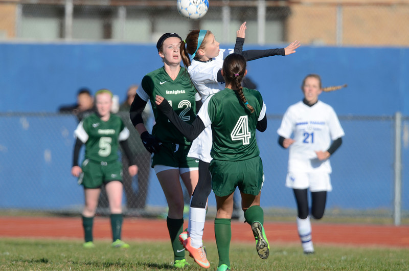 J.S.CARRAS/THE RECORD  Middleburg against Hoosic Valley during first half of high school girls class 'C' soccer play-off action Tuesday, October 29, 2013 at Hoosic Valley High School in Schaghticoke, N.Y..