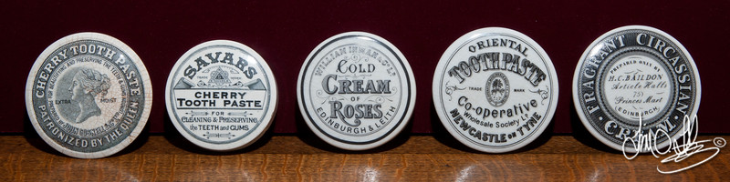 Victorian Toothpaste and Cold Cream pot lids.