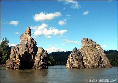 """""""THREE SISTERS ROCKS"""",(only two showing),Stikine river,B.C.,Canada-----""""SKALY TRI SESTRY"""",(jedna je mimo),reka Stikine,B.K.,Kanada."""
