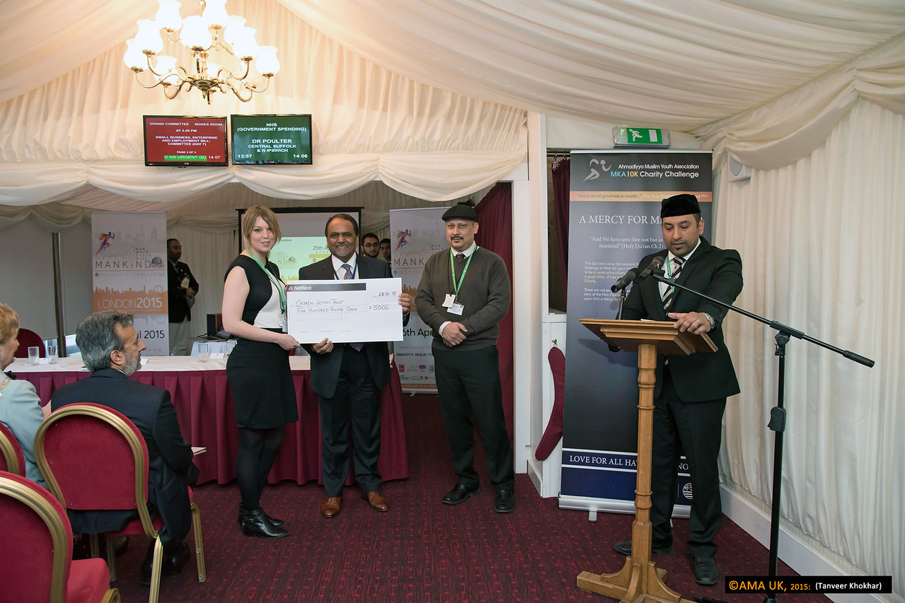 Cheque for Children Action trust for £500<br /> <br /> MKA House of Lords-2361