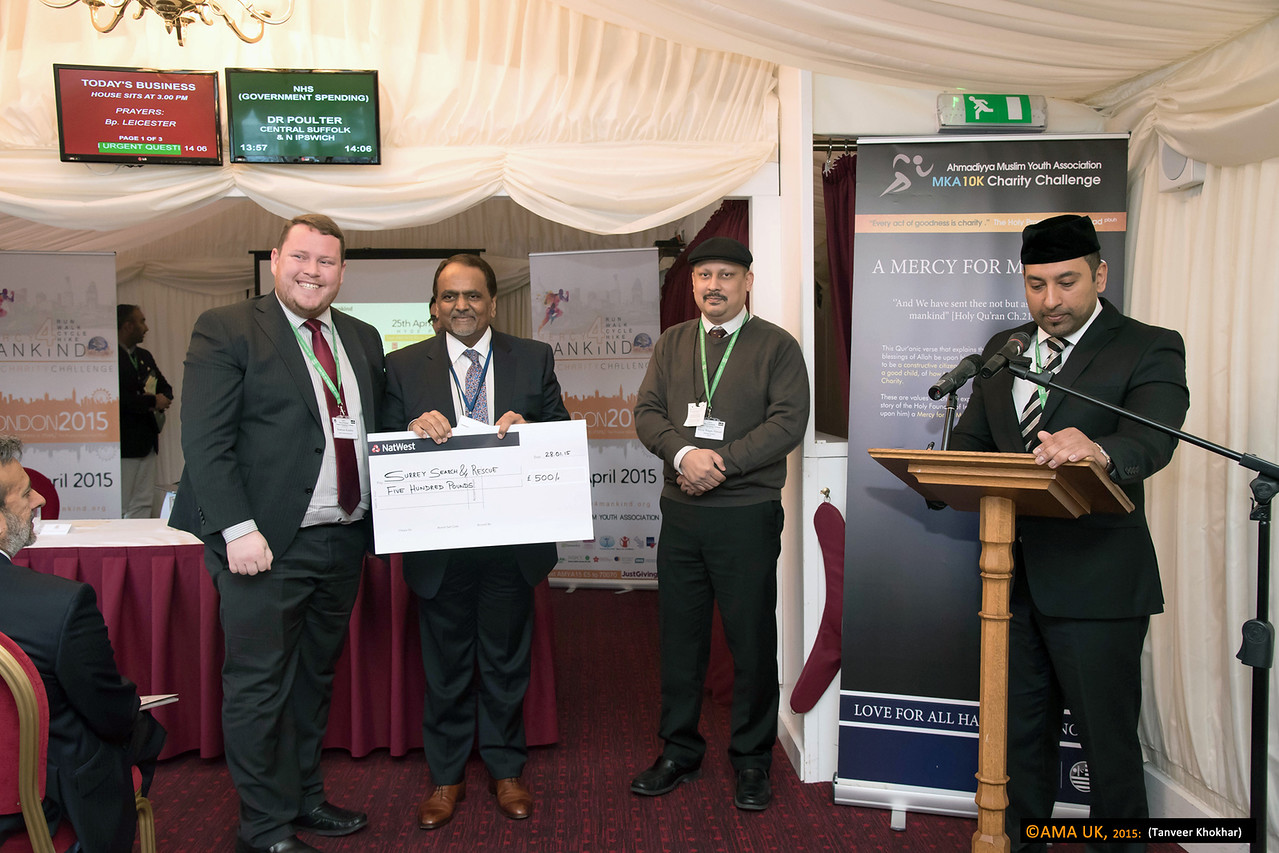 Cheque for the Surrey Search and Rescue charity for £500.<br /> <br /> MKA House of Lords-2357