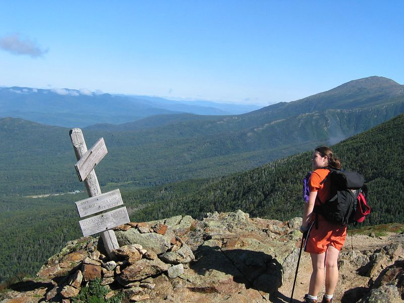 north shoulder of mt eisenhower<br /> washington in the background with smoke from cog railway above beccas head