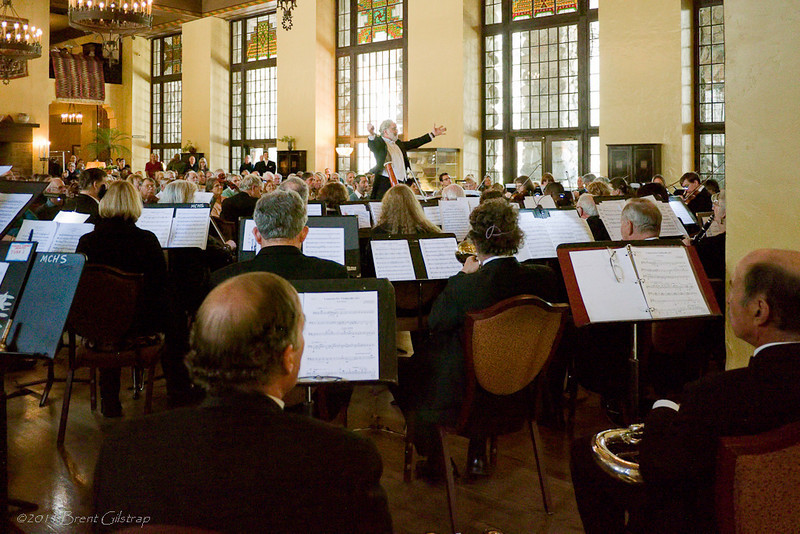 Maestro Marsden leads the Mariposa Symphony Orchestra in a performance in the Great Lounge of the historic Ahwahnee Hotel.<br /> <br /> Ahwahnee Hotel<br /> Yosemite National Park<br /> 10 April 2011