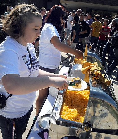 Pat Christman <br /> Macaroni and cheese is dished up before Wednesday's competition.