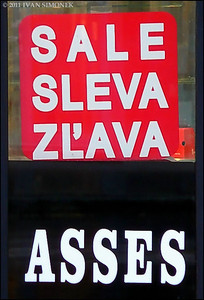 """ON SALE"",store entrance,Prague,Czech Republic."