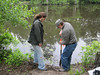 Participants dig up soil samples to see how the soil changes as the distance from the water increases.