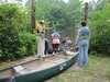 Participants get ready to take off in canoes.